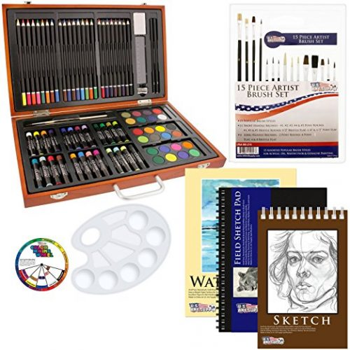 US Art Supply 82-Piece Deluxe Art Creativity Set in Wooden Case