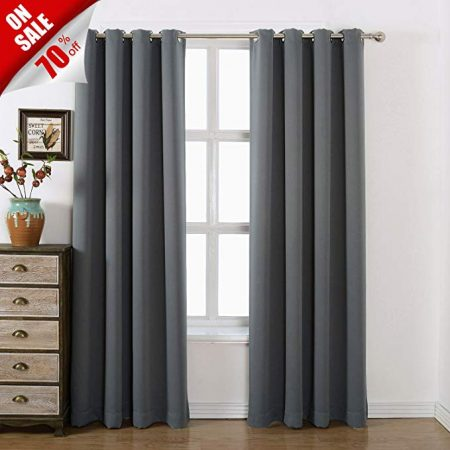 AMAZLINEN 52x84-Inch Grommet Top Blackout Curtains