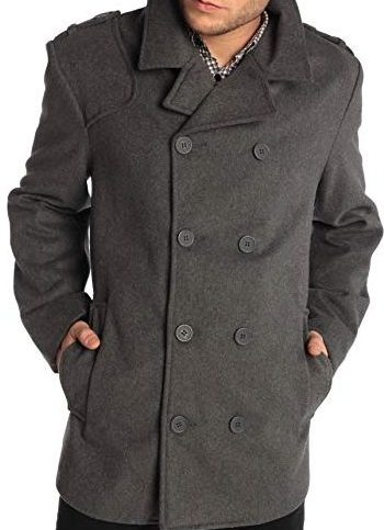 Alpine Swiss Jake Men's Wool Pea Coat Double Breasted Jacket