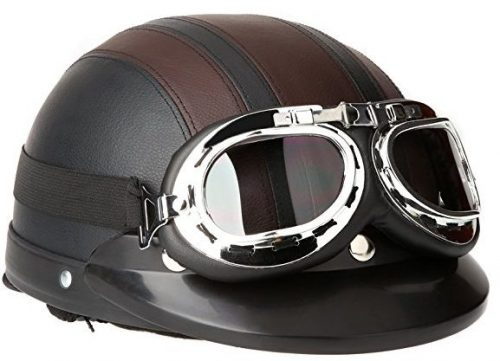 Docooler® Leather Motorcycle Goggles Vintage Garman Style Half Helmets Motorcycle Biker Cruiser Scooter Touring Helmet