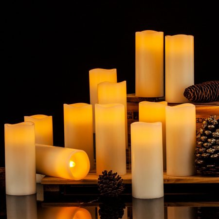 Enponk Ivory Real Wax Flameless Flickering Candles