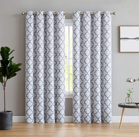 HLC.ME Lattice Print Thermal Insulated Blackout Window Curtains for Bedroom