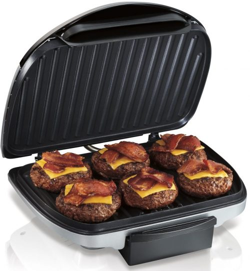 "Hamilton Beach (25371) Electric Indoor Grill with Non-Stick Plates, 90"" Cooking Surface, Silver"