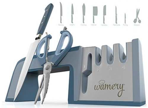 Knife, Shears and Scissors Sharpening System. Easy to use. Safe Handle. Stainless Steel Blades