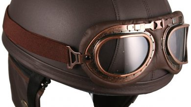 Leather Brown Motorcycle Goggles Vintage Garman Style Half Helmets Motorcycle Biker Cruiser Scooter Touring Helmet