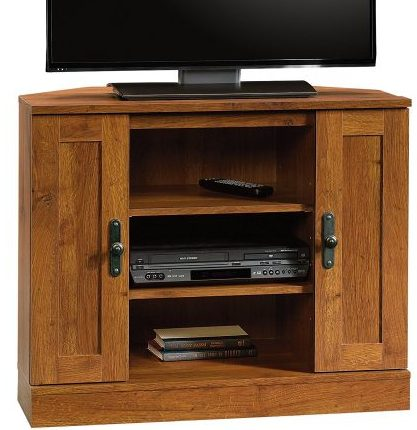 Sauder Harvest Mill Corner Entertainment Stand, Abbey Oak Finish