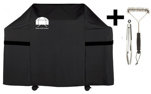 Texas Gas Grill Cover for Weber Genesis E and S Series Gas Grill 7553 | 7107 Premium Including Grill Brush and BBQ Tongs