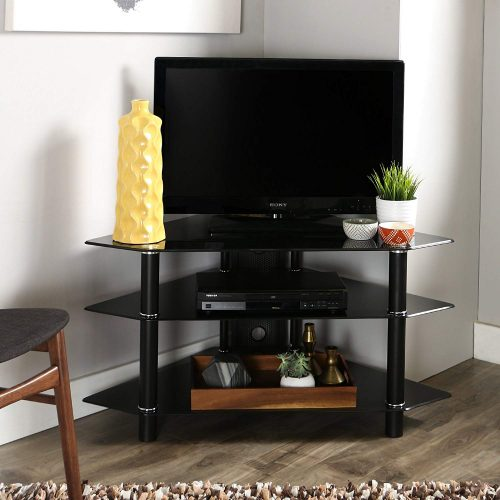 "Walker Edison 44"" Glass Corner TV Stand, Black"
