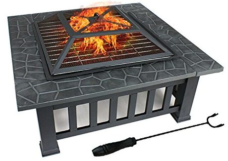 "ZENY 32"" Outdoor Fire Pit Square Metal Firepit Backyard Patio Garden Stove Wood Burning Fire Pit W/Rain Cover"