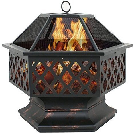 Zeny Fire Pit Hex Shaped Fireplace Outdoor Home Garden Backyard Firepit, Oil Rubbed Bronze