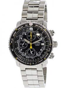 Seiko Men's Flight-Alarm, (SNA411) Chronograph Watch