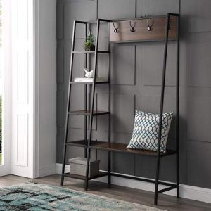 Walker Edison Furniture Entryway 68H Angled Side Hall Tree