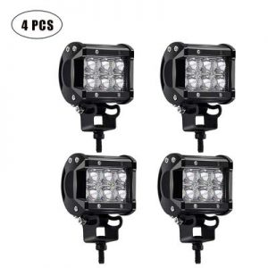 TURBOSII 4Pcs 4Inch Spot Beam 18W Led Work Light Bar Pods Cube Driving Fog Lights
