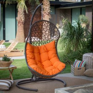 Resin Wicker Hanging Egg Swing Chair for Indoor Outdoor Patio Backyard