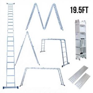 Superworth 19.5ft Multi Purpose Aluminum Telescopic Ladder Heavy Duty Folding Combination Ladder Extension Ladder