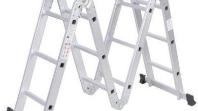 10. Safeplus Aluminum Lightweight Multi Task Ladder, 3.3ft Multi Purpose Folding Scaffold Ladder