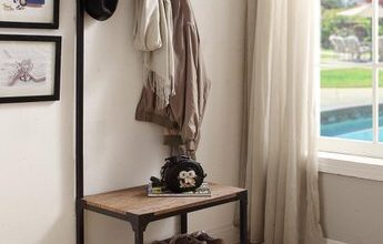 9. eHomeProducts Vintage Dark Brown Industrial Look Entryway Shoe Bench with Coat Rack Hall Tree