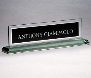 Hit Trophy - Black Glass Name Plate
